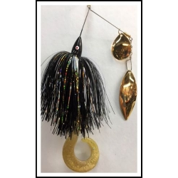 3/4 ounce spinnerbait, 90/10 Gold skirt, #5 Colorado, #6 Willow w/Kalin tail
