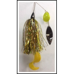3/4 ounce spinnerbait, Yellowjacket #5 Colorado, #6 Willow w/Kalin tail