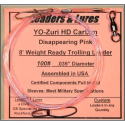 100lb 8&#039;-0&quot; YO-Zuri HD Carbon Trolling Leaders 