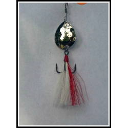 #5 Bucktail Designer Tail White with a Red Stripe
