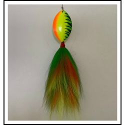 Pipefitter:Firetiger Tied Bucktail Skirts with imaged firetiger #7 .040 Mag Willow Blade