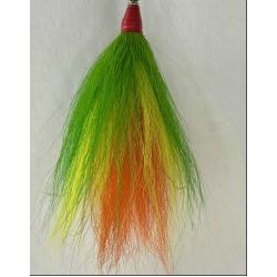 Bucktail 3 Color Tie Firetiger:  Dark Green, Yellow, Orange