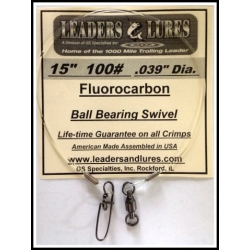 "100# 15"" Fluorocarbon Leader .039"" Dia"