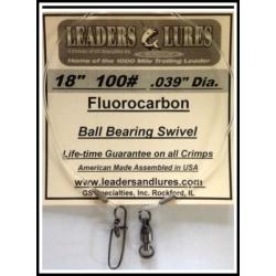 "100# 18"" Fluorocarbon Leader .039"" Dia"