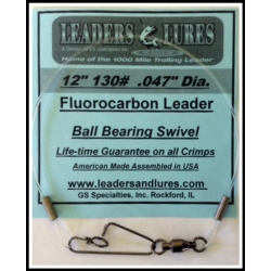 "130# 12in Fluorocarbon Leader .047"" dia. (3 pack)"