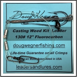 """Casting Weed Kit Leader 12"""" 130# Fluorocarbon Ball Bearing & Stay-Loc"""