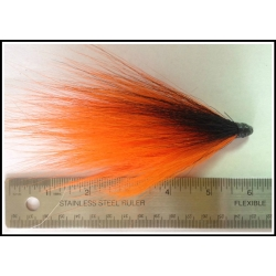 Florescent Orange Bucktail with a Horizontal Black Stripe
