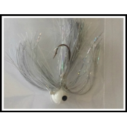 3/8 oz Walleye Jig Holo Silver, Solid White, Transparent