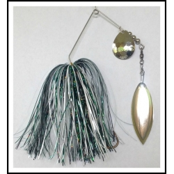 Spinnerbait - Snow White 3/4 oz. .051 wire White, Black, and Dark Green