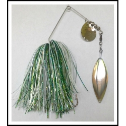 "Spinnerbait - Snow White 3/4 oz .051"" Wire  White, Spring Green, Dark Green"