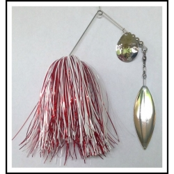 Spinnerbait - Snow White 3/4 oz. .051 Wire, Snow White, holo red, solid red
