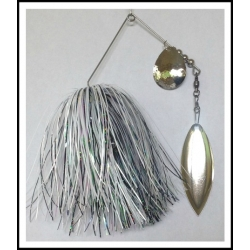 Spinnerbait - Snow White 3/4 oz. .051 Wire Snow White, holo black, and pearl