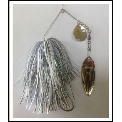 Spinnerbait 1 0z. .062 Wire Snow White, Holo Black & Pearl