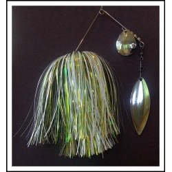 Spinnerbait - Snow White 3/4 oz. .051 Wire Snow white, spring green luster, yellow luster