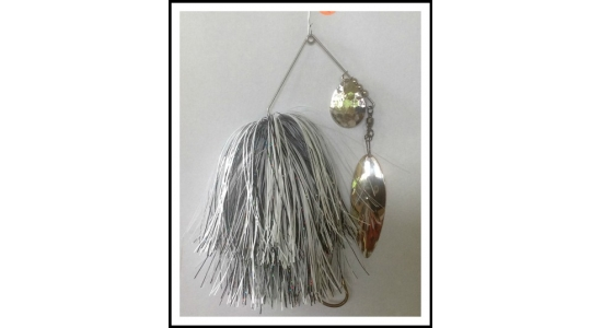 "Spinnerbait Headless 1 oz on .062"" solid  wire Snow White and Holo Black"