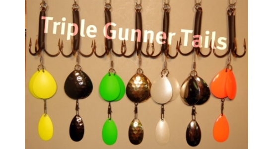 Try our New:     Replacement Triple Gunner Tails  can be added to any large in-line bait